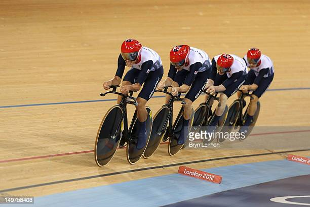 Edward Clancy Geraint Thomas Steven Burke and Peter Kennaugh of Great Britain compete in the Men's Team Pursuit Track Cycling final on Day 7 of the...