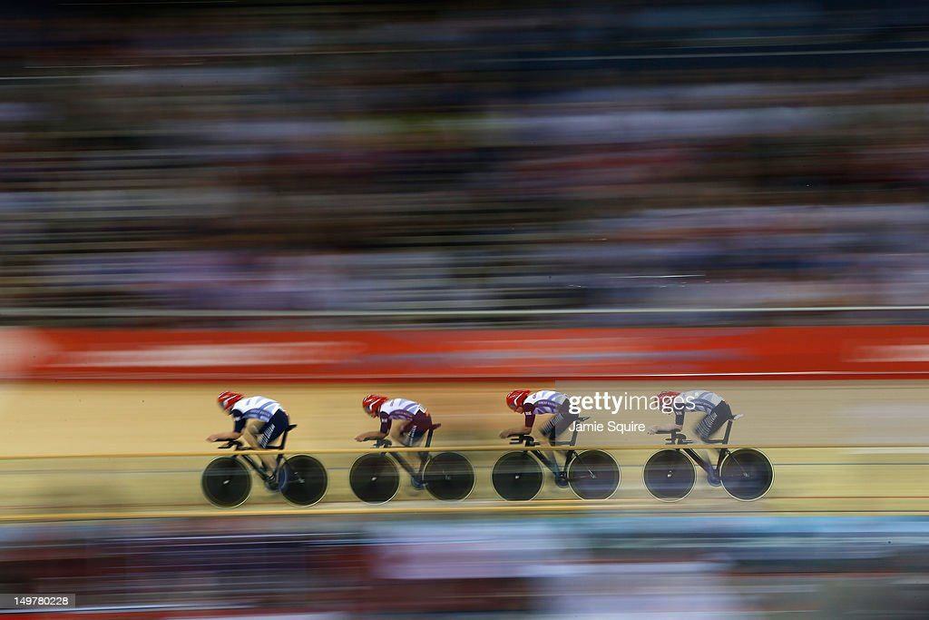 Edward Clancy, Geraint Thomas, Steven Burke and Peter Kennaugh of Great Britain compete in the Men's Team Pursuit Track Cycling final on Day 7 of the London 2012 Olympic Games at Velodrome on August 3, 2012 in London, England.