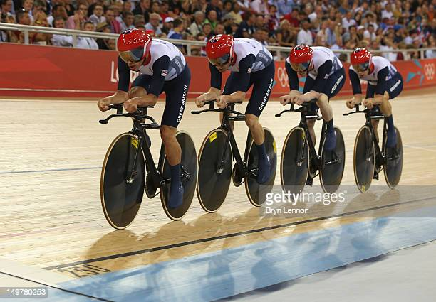 Edward Clancy Geraint Thomas Steven Burke and Peter Kennaugh of Great Britain compete in the Men's Team Pursuit Track Cycling qualifying on Day 7 of...