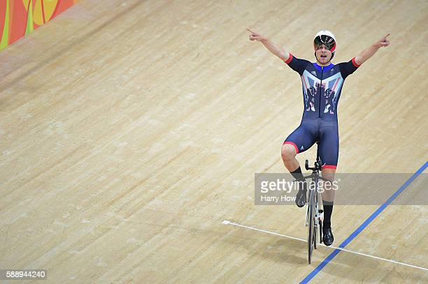 Edward Clancy Steven Burke Owain Doull and Bradley Wiggins of Team Great Britain celebrates winning the gold medal after the Men's Team Pursuit Final...