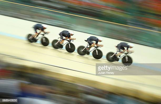 Edward Clancy Steven Burke Owain Doull and Bradley Wiggins of Team Great Britain competes in the Men's Team Pursuit Final for Gold on Day 7 of the...