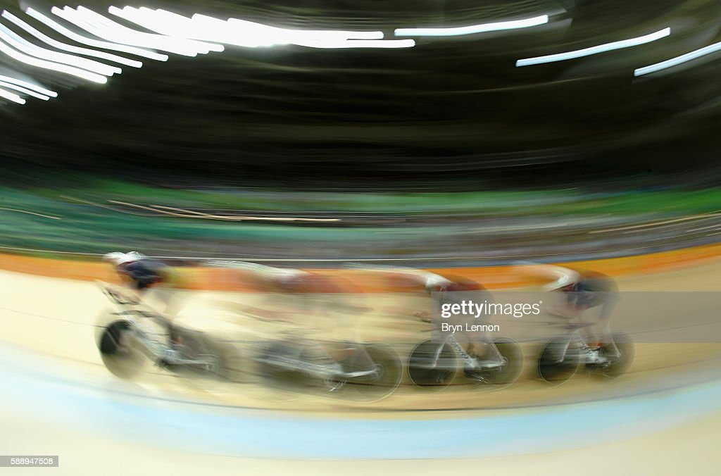 Edward Clancy, Steven Burke, Owain Doull and Bradley Wiggins of Team Great Britain competes in the Men's Team Pursuit First Round on Day 7 of the Rio 2016 Olympic Games at the Rio Olympic Velodrome on August 12, 2016 in Rio de Janeiro, Brazil.