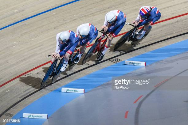 Edward ClancyKian EmadiEthan HayterCharlie Tanfield of Men`s team Pursuit squad take part in the qualifying round of the UCI Track Cycling World...