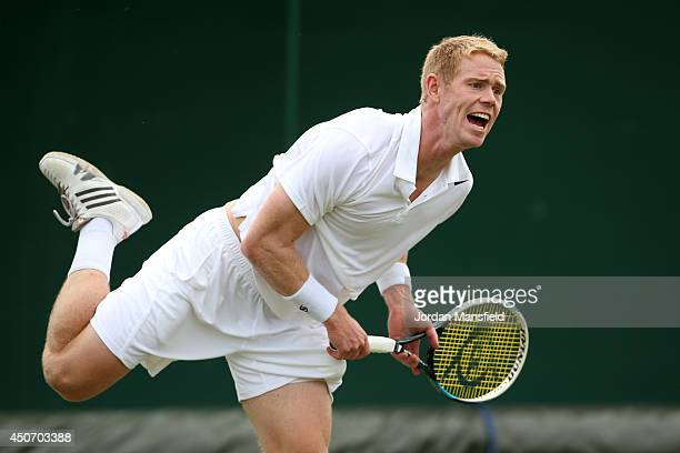 Edward Corrie of Great Britain plays a forehand during his first round qualifying match against Samuel Groth of Australia on day one of the Wimbledon...