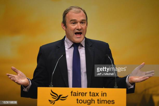 Edward Davey Secretary of State for Energy and Climate Change speaks at the Liberal Democrat conference on September 232012 in Brighton England...