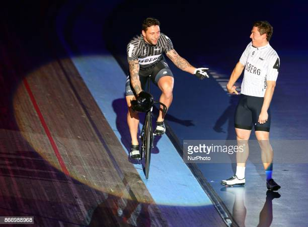 LR Edward Dawkins and Ethan Mitchell compete in the 200m Flying Time Trial during day three of the London Six Day Race at the Lee Valley Velopark...