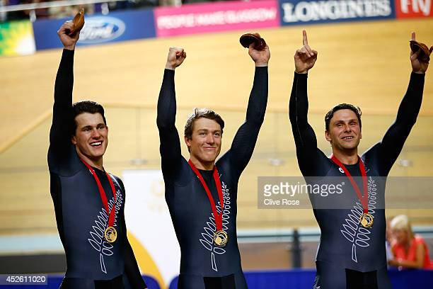 Edward Dawkins Ethan Mitchell and Sam Webster of New Zealand pose with their Gold medals after coming winning the Men's Team Sprint qualification at...