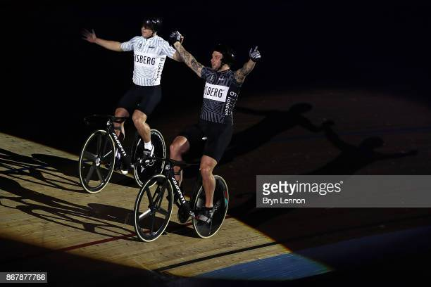 Edward Dawkins of New Zealand celebrates beating compatriot Ethan Mitchell to win the sprinters race on day six of the London Six Day Race at the Lee...