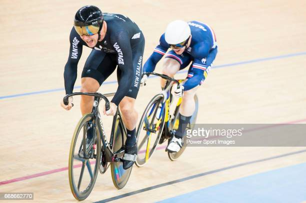 Edward Dawkins of the New Zealand team and Sebastien Vigier of the France team compete in the Men's Sprint 1/8 Finals as part of the Men's Sprint 1/8...