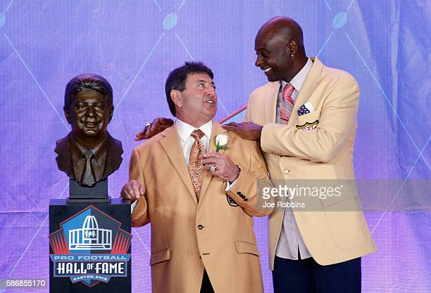 Edward DeBartolo Jr former San Francisco 49ers Owner is seen with his bronze bust and laughing with former San Francisco 49ers wide receiver Jerry...