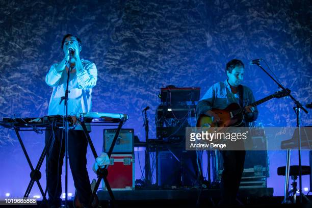 Edward Droste and Daniel Rossen of Grizzly Bear perform on the Mountain stage during day 3 at Greenman Festival on August 19, 2018 in Brecon, Wales.