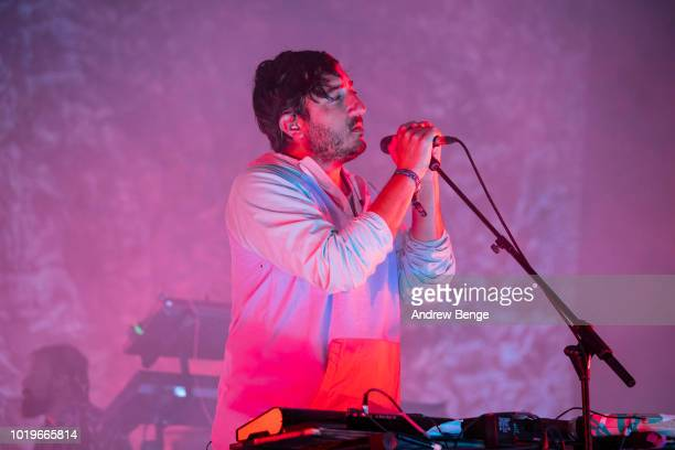 Edward Droste of Grizzly Bear performs on the Mountain stage during day 3 at Greenman Festival on August 19, 2018 in Brecon, Wales.