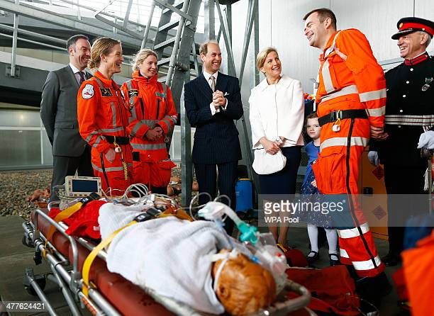 Edward Earl of Wessex and his wife Sophie Countess of Wessex chat with the crew of London's Air Ambulance after they demonstrated the treatment of a...