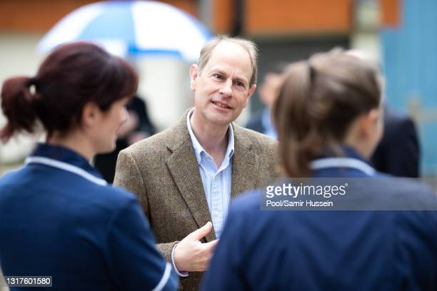 Edward, Earl of Wessex visits Frimley Park Hospital on International Nurses Day on May 12, 2021 in Camberley, England.