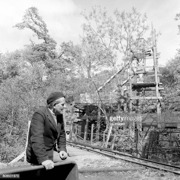 Edward Edwards of Bontddu Merrioneth Wales at the overgrown pit head of Clogau St David's gold mine which he worked for many years The mine was...