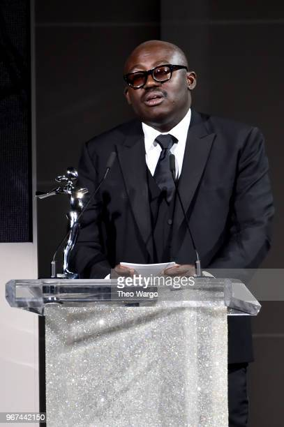 Edward Enninful accepts the 2018 CFDA Media Award during the 2018 CFDA Fashion Awards at Brooklyn Museum on June 4 2018 in New York City