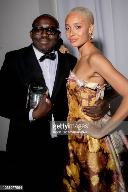 Edward Enninful and Adwoa Aboah attend amfAR Gala dinner at La Permanente on September 22 2018 in Milan Italy