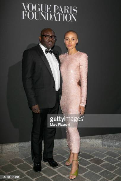 Edward Enninful and Adwoa Aboah attend the Vogue Foundation Dinner Photocall as part of Paris Fashion Week Haute Couture Fall/Winter 20182019 at...