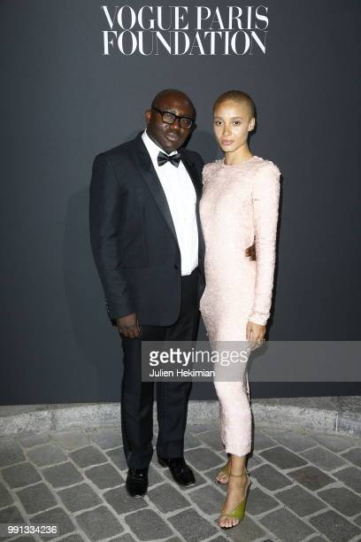 Edward Enninful and Adwoa Aboah attend Vogue Foundation Dinner Photocall as part of Paris Fashion Week Haute Couture Fall/Winter 20182019 at Musee...