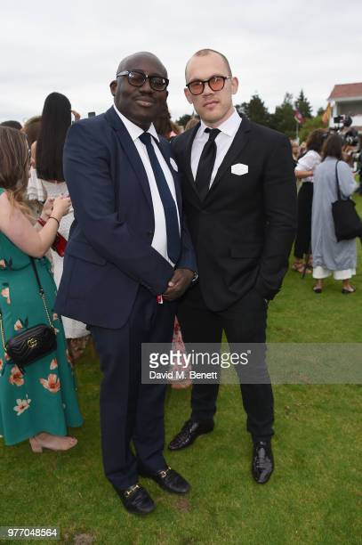 Edward Enninful and Alec Maxwell attend the Cartier Queen's Cup Polo at Guards Polo Club on June 17 2018 in Egham England