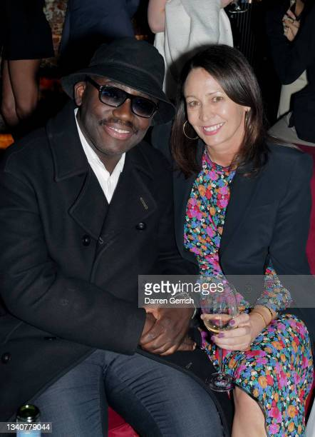 Edward Enninful and Caroline Rush attend the LFW opening night party at The Windmill on September 16, 2021 in London, England.