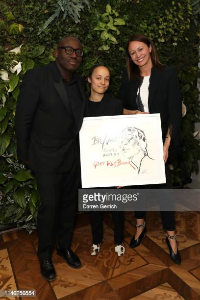 Edward Enninful and Caroline Rush with winner of the BFC/Vogue Designer Fashion Fund Grace Wales Bonner at BFC/Vogue Designer Fashion Fund...
