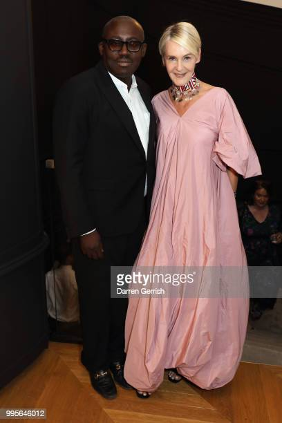 Edward Enninful and Christina Zeller attend the Delvaux and British Vogue exclusive dinner on July 10, 2018 in London, England.