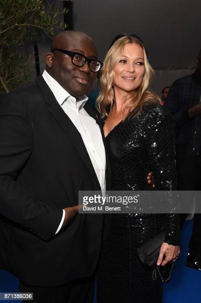Edward Enninful and Kate Moss attend a dinner hosted by Jonathan Newhouse and Albert Read for Edward Enninful to celebrate the December issue of...