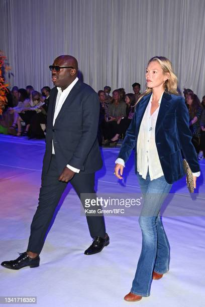 Edward Enninful and Kate Moss attend the Richard Quinn show during London Fashion Week September 2021 on September 21, 2021 in London, England.