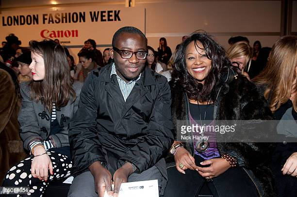 Edward Enninful and Kym Mazelle attend the Issa show during London Fashion Week Autumn/Winter 2009 at the BFC tent Natural History Museum on February...
