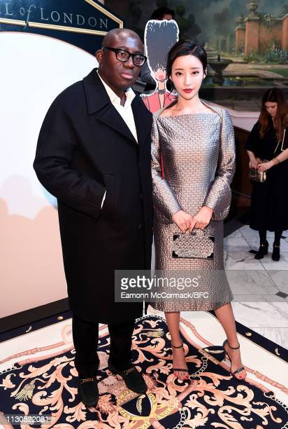 Edward Enninful and Liu Fan Fei attend the Aspinal of London AW19 presentation during London Fashion Week February 2019 at the Aspinal Of London on...