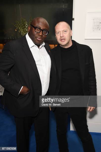Edward Enninful and Matthew Freud attend a dinner hosted by Jonathan Newhouse and Albert Read for Edward Enninful to celebrate the December issue of...