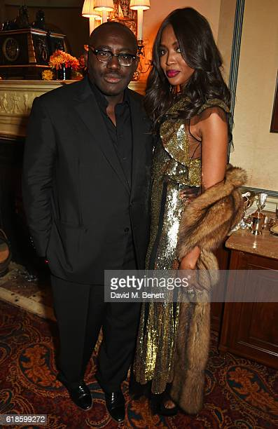 Edward Enninful and Naomi Campbell attend Edward Enninful's OBE dinner at Mark's Club on October 27 2016 in London England
