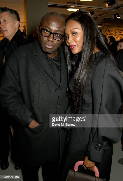 Edward Enninful and Naomi Campbell attend the Burberry February 2017 Show during London Fashion Week February 2017 at Makers House on February 20...