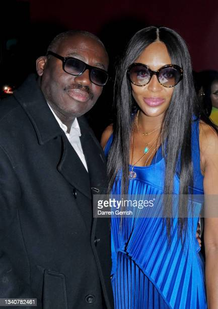 Edward Enninful and Naomi Campbell attend the LFW opening night party at The Windmill on September 16, 2021 in London, England.