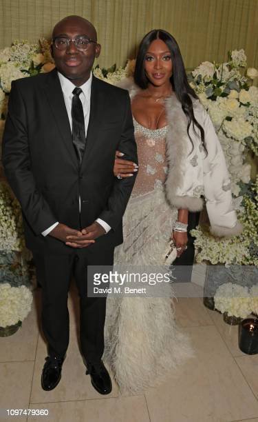 Edward Enninful and Naomi Campbell wearing Tiffany Co attend the British Vogue and Tiffany Co Celebrate Fashion and Film Party at Annabel's on...