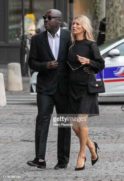Edward Enninful and supermodel Kate Moss attend Peter Lindbergh's Funerals at Eglise SaintSulpice on September 24 2019 in Paris France