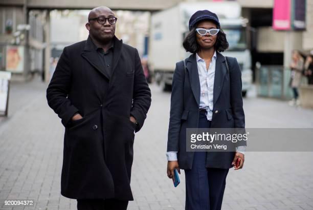Edward Enninful and Vanessa Kingori seen outside Roland Mouret during London Fashion Week February 2018 on February 18 2018 in London England