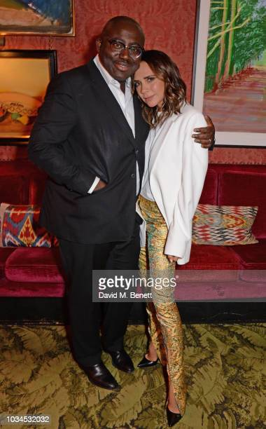 Edward Enninful and Victoria Beckham attend as Edward Enninful David Beckham and British Vogue celebrate the 10th anniversary of Victoria Beckham at...