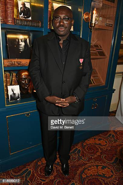 Edward Enninful attends Edward Enninful's OBE dinner at Mark's Club on October 27 2016 in London England
