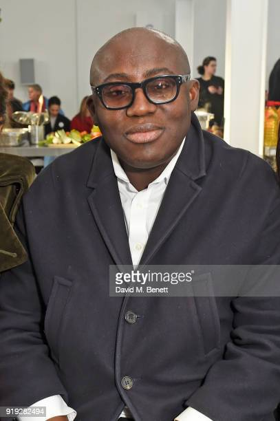Edward Enninful attends the Molly Goddard show during London Fashion Week February 2018 at TopShop Show Space on February 17 2018 in London England