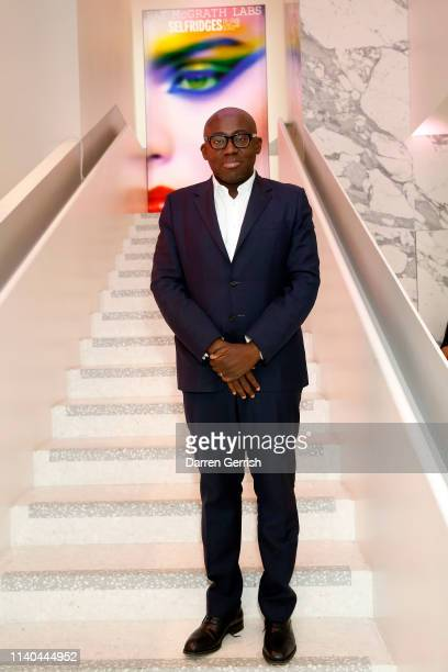 Edward Enninful attends the Pat McGrath 'A Technicolour Odyssey' Campaign launch party at Brasserie of Light Selfridges on April 04 2019 in London...
