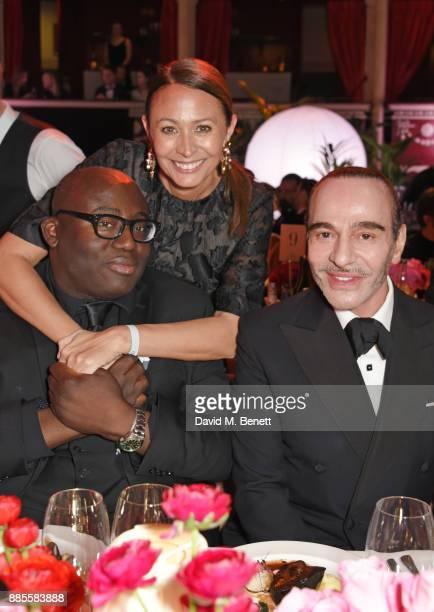 Edward Enninful Caroline Rush and John Galliano attend a drinks reception ahead of The Fashion Awards 2017 in partnership with Swarovski at Royal...