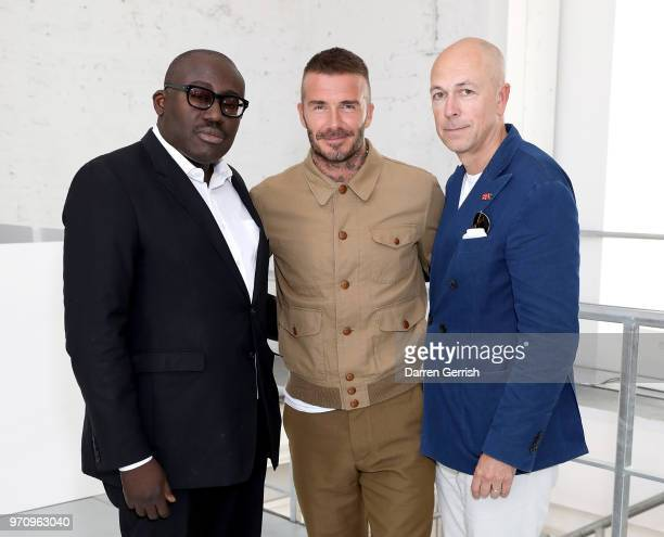 Edward Enninful, David Beckham and Dylan Jones attend the Kent & Curwen show during London Fashion Week Men's June 2018 at 11 Floral Street on June...