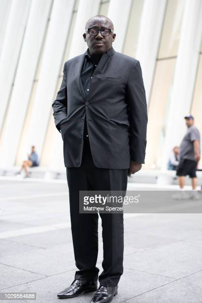 Edward Enninful is seen on the street during New York Fashion Week SS19 wearing dark grey suit on September 8 2018 in New York City