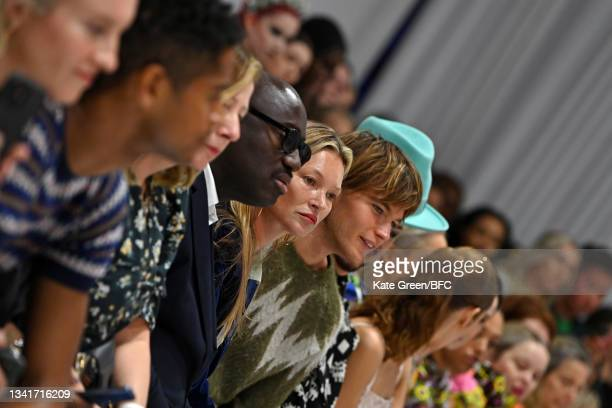 Edward Enninful, Kate Moss and Boy George attend the Richard Quinn show during London Fashion Week September 2021 on September 21, 2021 in London,...
