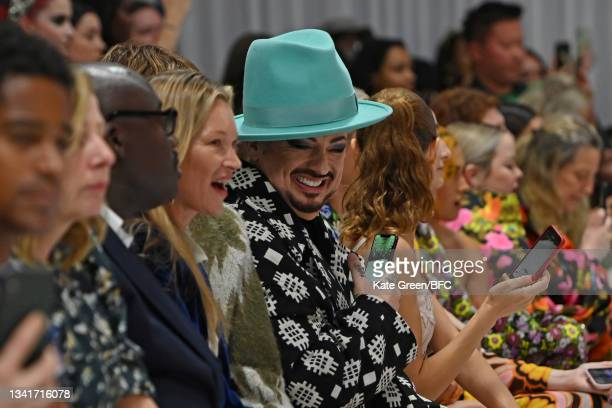 Edward Enninful, Kate Moss and Boy George attends the Richard Quinn show during London Fashion Week September 2021 on September 21, 2021 in London,...
