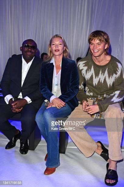 Edward Enninful, Kate Moss and Jordan Barrett attend the Richard Quinn show during London Fashion Week September 2021 on September 21, 2021 in...