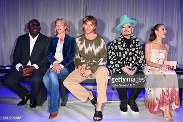 Edward Enninful, Kate Moss, Jordan Barret and Boy George attend the Richard Quinn show during London Fashion Week September 2021 on September 21,...