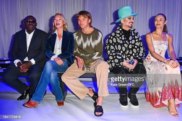 Edward Enninful, Kate Moss, Jordan Barret, Boy George and Olga Kurylenko attend the Richard Quinn show during London Fashion Week September 2021 on...